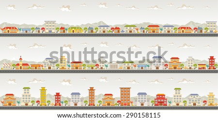Streets of a colorful city - stock vector
