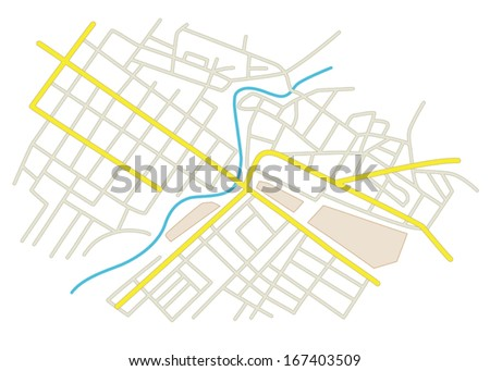 streets on the city plan - vector - stock vector