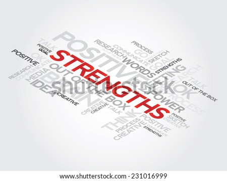 Strengths concept related words in tag cloud,  presentation background - stock vector
