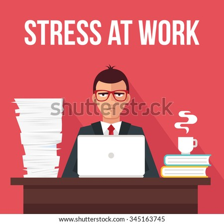 Stress at work. Vector flat illustration - stock vector