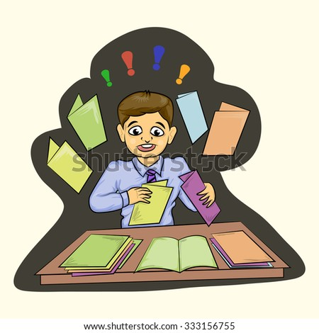 stress businessman with opened folder and job desk cartoon illustration - stock vector