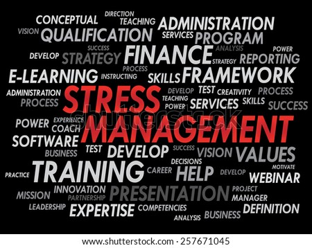 Stress Management word cloud, business concept - stock vector