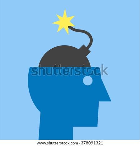Stress Migraine Headache Anxiety Anger Fever Concept Vector Design - stock vector