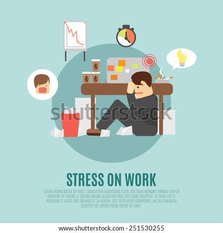 Stress on work flat icon with overworking employee  man cartoon character fearing angry boss abstract vector illustration - stock vector