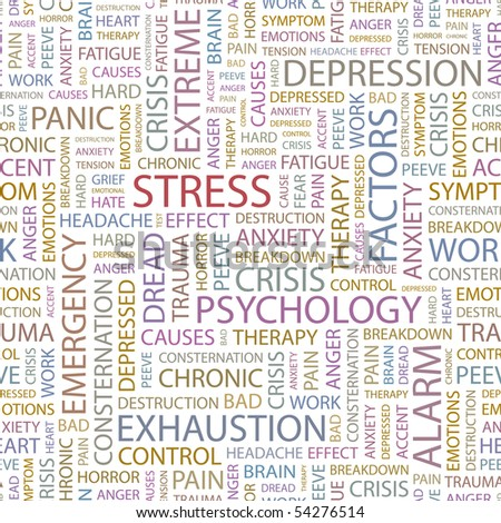 STRESS. Seamless vector pattern with word cloud. - stock vector