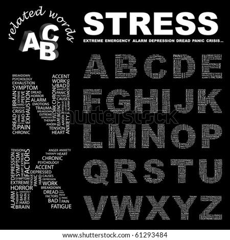 STRESS. Vector letter collection. Illustration with different association terms.