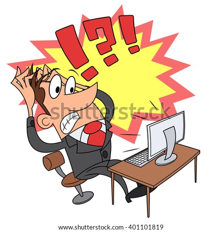 Stress while working at computer 3 - stock vector