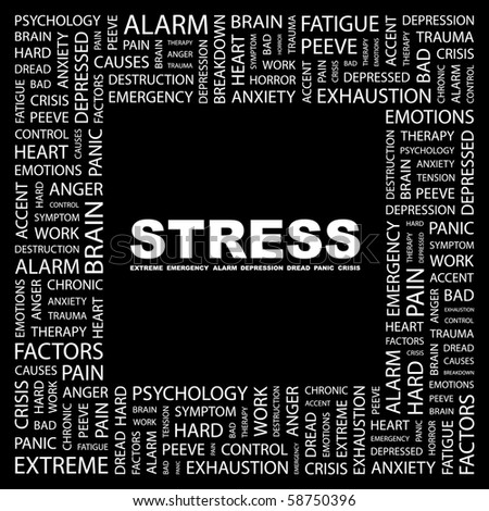 STRESS. Word collage on black background. Illustration with different association terms.