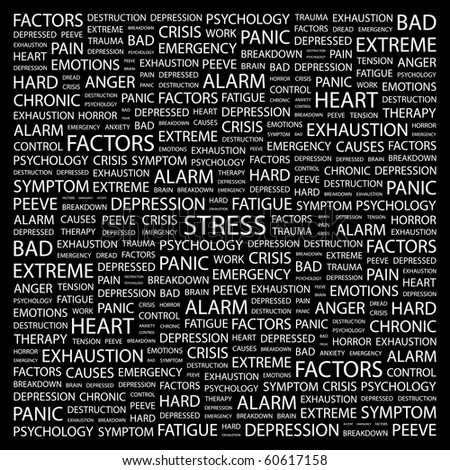 STRESS. Word collage on black background. Illustration with different association terms. - stock vector