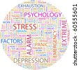 STRESS. Word collage on white background. Illustration with different association terms. - stock photo
