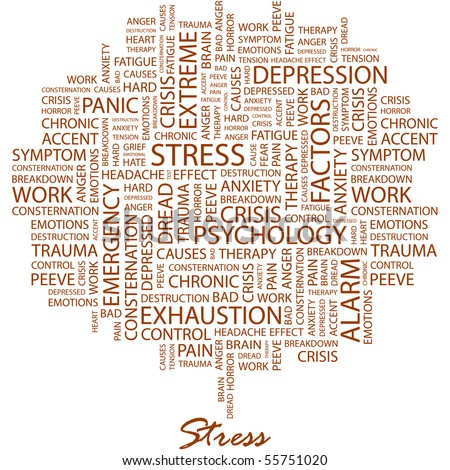 STRESS. Word collage on white background. Illustration with different association terms. - stock vector