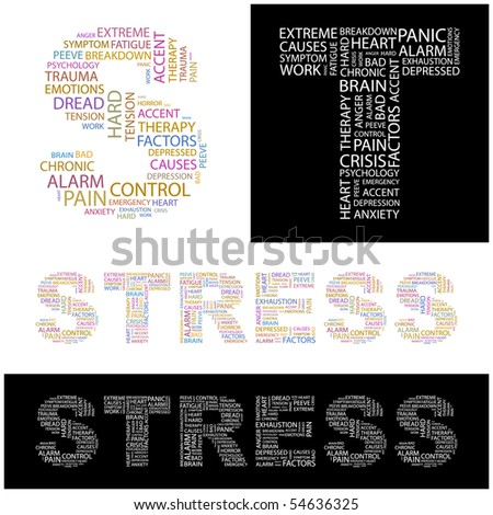 STRESS. Word collage. Vector illustration. - stock vector