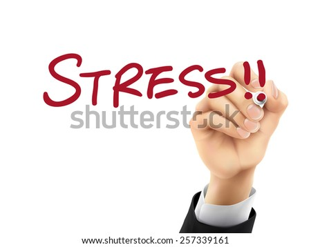 stress word written by hand on a transparent board - stock vector