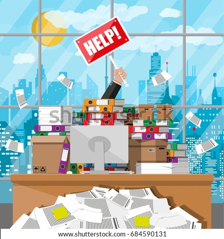 stressed businessman pile office papers documents stock vector  stressed businessman in pile of office papers and documents help sign stress at work