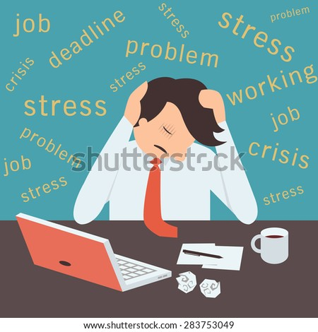 Stressed businessman, sitting on desk in workplace with stressful background.  - stock vector