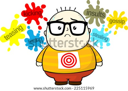 stressed little fat boy target for bullies isolated on white background - stock vector