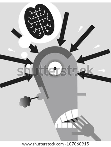 Stressed-out figure biting nails with smoke coming out of his ear and a brain in a cartoon bubble above his head - stock vector