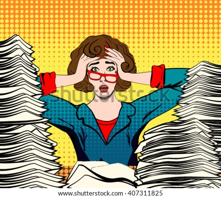 stressed woman. stressed worker. businesswoman in panic. a young girl sits at his Desk and holds her hands on her head. pop art comics woman vector illustration. Paper Work. Stressed person concept. - stock vector