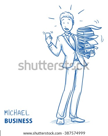 Stressed young man in business suit carrying a pile of documents while his phone rings. Hand drawn line art cartoon vector illustration. - stock vector