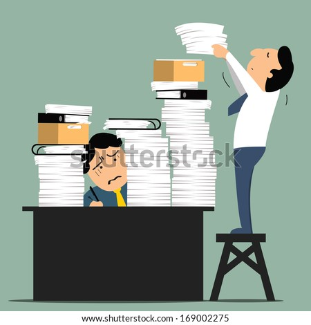 Stressful business man in office with too many stack of paper and folder on his desk. Business concept in overload work and very busy.  - stock vector