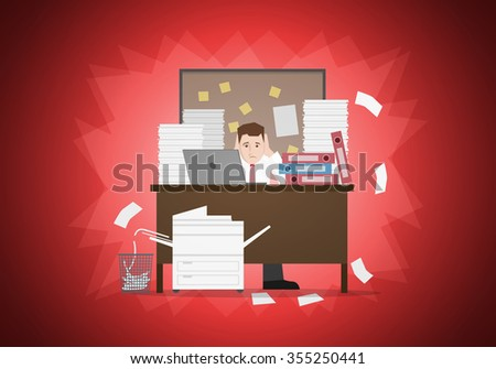 Stressful businessman in office with too many stack of paper and folder on his desk. Vector illustration. Elements are layered separately in vector file. Easy editable. - stock vector