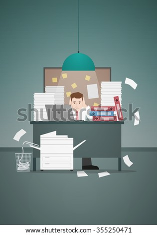 Stressful businessman in office with too many stack of paper and folder on his desk. Vector illustration. - stock vector