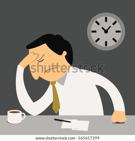 Stressful businessman sitting oh his desk, thinking seriously, and feel headache. Feeling and emotional concept.  - stock vector