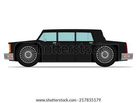 Stretch limo. Funny car in 80s style Vector illustration without gradients, one layer.