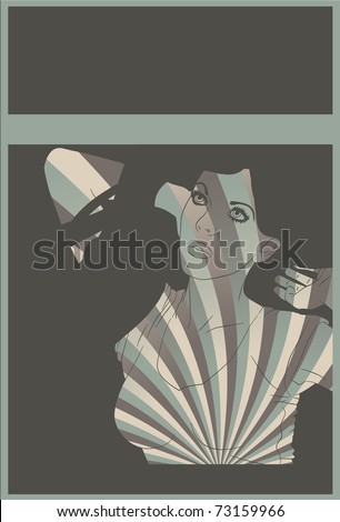 Stretching woman swirl background design - stock vector