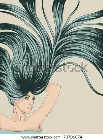 stretching woman with long detailed flowing hair - stock vector
