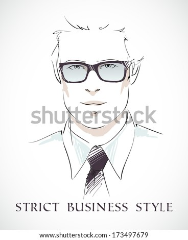 Strict business style. Fashion businessman portrait with glasses tie and shirt isolated vector illustration - stock vector