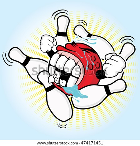Strike-with-cute-red-bowling-ball-vector