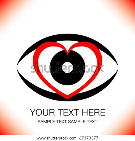 Striking heart eye design with copy space. - stock vector