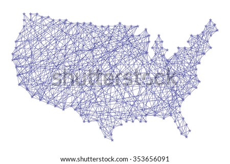 String Art Nail And Yarn Design Usa Map Purple Color Cartography Concept