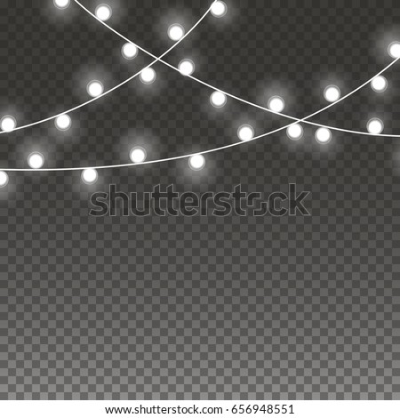 String Light Christmas Garlands Isolated On Transparent Background Vector White Festive Bulbs Glowing