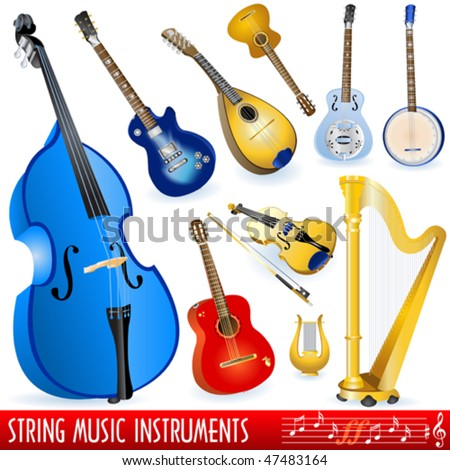 String music instruments collection - stock vector