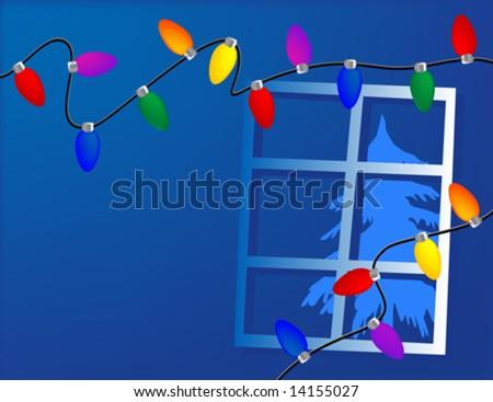 String of christmas lights - stock vector