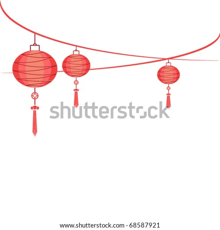 string of hanging lantern decorations on white - stock vector