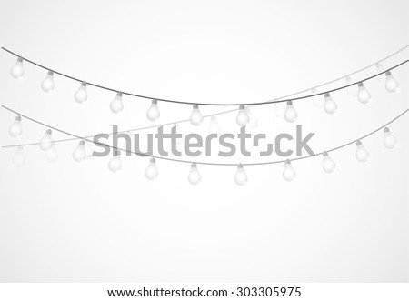 String of Lights. hanging light bulbs isolated over white - stock vector