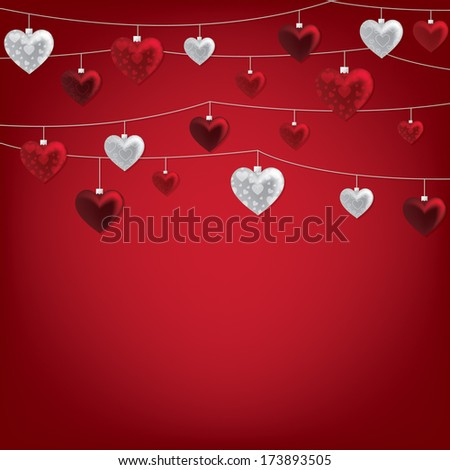 String of Valentine baubles card in vector format. - stock vector