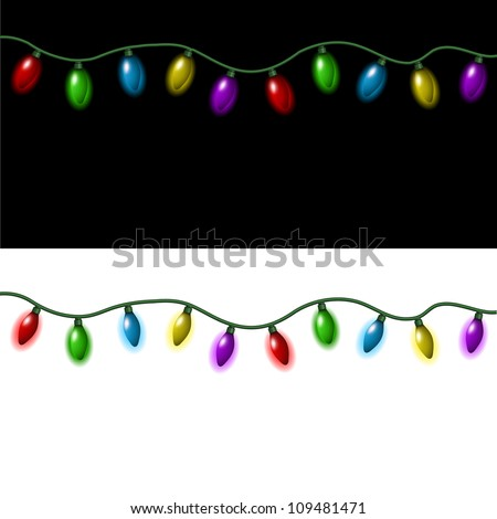 Strings of Christmas lights on a black and white background - stock vector