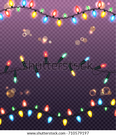 Strings Of Colourful Christmas Lights. Vector Illustration Of Black Wire  And Various Types Of Glowing