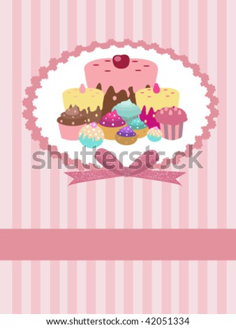 striped background with cupcakes and place for your text - stock vector
