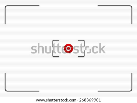Striped background with thin lines and target mark, cross hair. Red dot at center. - stock vector