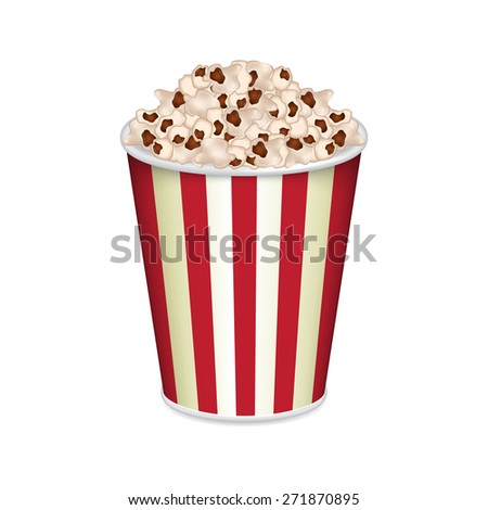 Striped bag of popcorn isolated on white. EPS10 vector