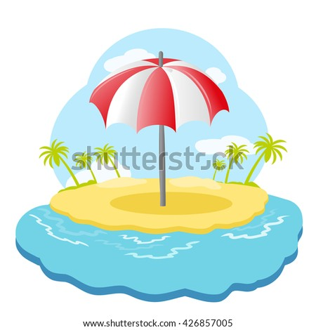 Striped beach umbrella on sandy island with palm trees in sea. Vector illustration