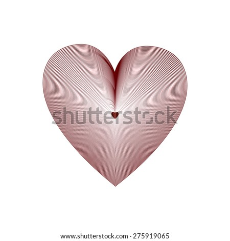 Striped big red heart with a little heart in the middle on a white background - stock vector