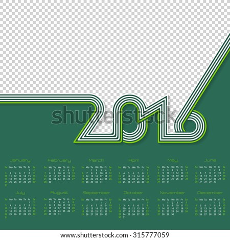 Striped calendar template design for year 2016 with place for photo - stock vector