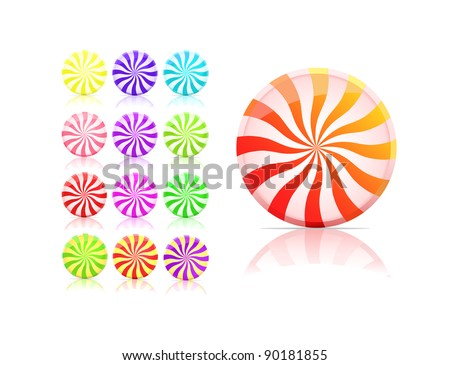 striped candy icon set.  lollipop set isolated on white background. vector - stock vector