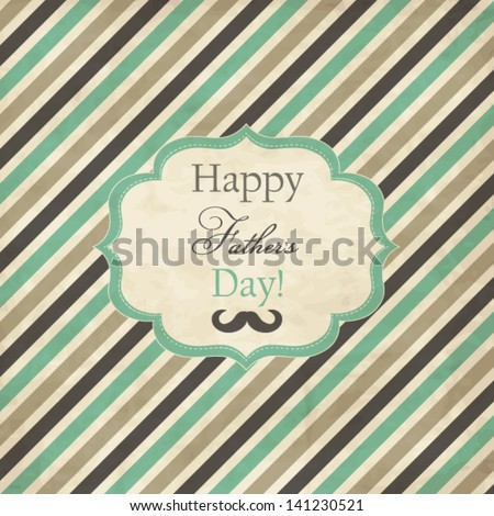 Striped card with frame for Father's Day - stock vector